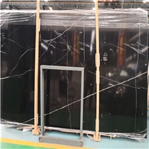 Black White Veins Nero China Marquina Marble Slabs