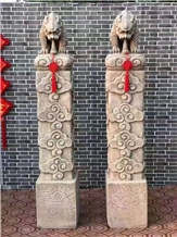 Architectural Stone Carving Porch Pedestal Columns