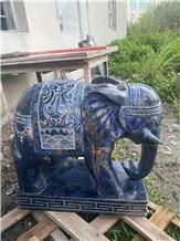 Luxury Blue Marble Hotel Elephant Animal Sculpture