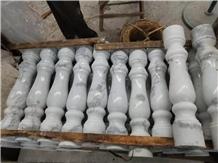 White Marble Round Balcony Railing Staircase Rails