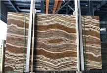 Yellow Brown Wooden Grain Onyx Slabs