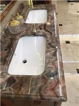 Louis Red Marble Bathroom Countertop