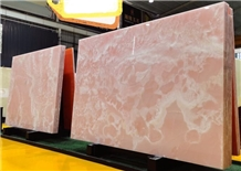Pink Onyx Slab and Tiles for Project