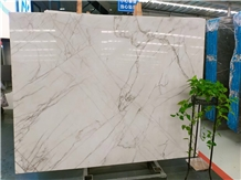 Red Line White Jade Marble for Wall Cladding