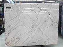 Red Line White Jade Marble for Wall Covering
