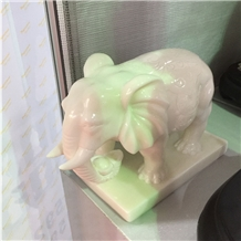 Carved White Marble Elephant Figurines Statues