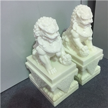 Hot Sell White Marble Jade Lion Sculpture for Home