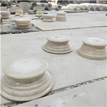 Natural Beige Marble Stone Roman Column Base
