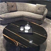 Round Laurence Golden Marble Table for Living Room