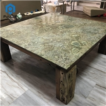 Simple Design Square Persian Green Marble Table