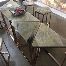 Triangular Green Marble Coffee Table with Chairs