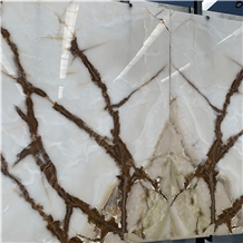 White Jade Marble with Brown Veins for Background