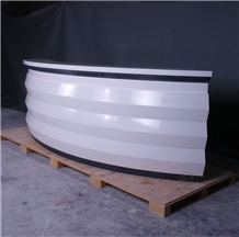Glossy White Solid Surface Top Reception Desk