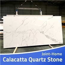 Calacatta White Quartz Stones Slab Engineered Tile