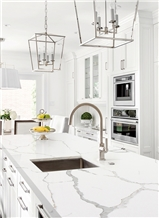 Chinese Calacatta Quartz Stone Kitchen Project