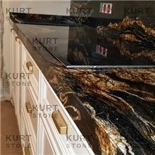 Cosmic Fusion Black Granite Kitchen Countertop