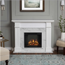 Fireplace White Limestone with Modern Design