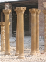 Hand Carved Garden Beige Marble Column Pillar