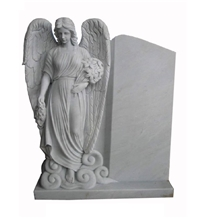 Handcarved Outdoor Tombstone White Marble Statue