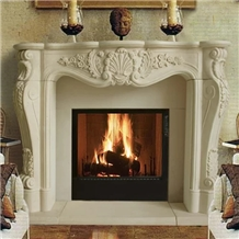 Interior Decoration White Limestone Fireplace