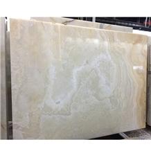Snow White Onyx Slab on Wall, Natural White Onyx