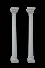 White Marble Design Carved Pillar Roman Column