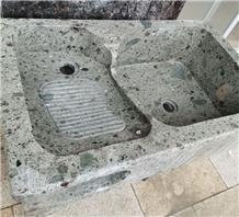 Beautiful Agate Green Granite Hebei Granite Wash Basin