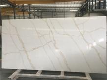 Gold Quartz Slabs White Quartz Engineered Stone