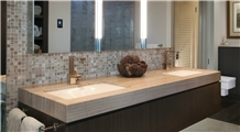 White Wooden Marble Washroom/Bathroom Counter-Top