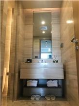 White Wooden Veins Marble Vanity Tops, Marble Bath Top