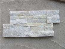 Yellow White Quartz Culture Stone Wall Cladding