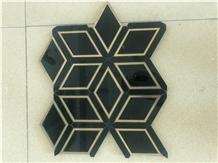 Nero Marquina Brass Metal Rhombus Marble Mosaics
