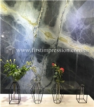 China Dreaming Peacock Green Marble Slabs,Tiles