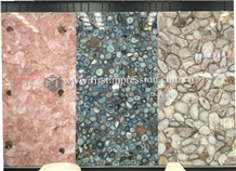 Colorful Gemstone Semiprecious Blue Agate Slabs