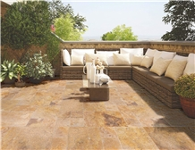 Meandros Gold Antique Pattern Travertine Tile