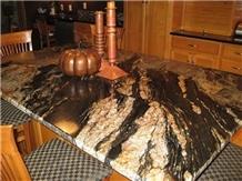 Black Fusion Granite Countertops Golden Veins