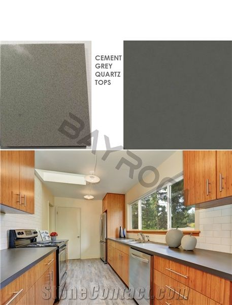 Cement Grey Artificial Quartz Kitchen Countertops From China