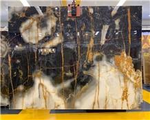 New Black White Onyx with Golden Line Translucent Slabs