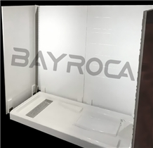 White Cultured Marble Shower Base&Panels for Hotel