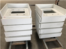Mitered Recycled Crushed Glass Stone Vanity Tops