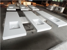 White Solid Surface Hotel Integrated Vanity Sink