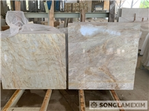 Milky Yellow Golden Crystal Marble Polished Tiles