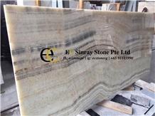 China Honey Smoke Jade Beige Onyx Slabs Tiles