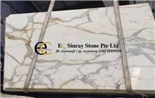 Italy Calacatta Oro Conci White Marble Slabs Tiles