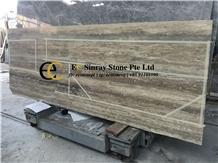 Kyrgyzstan Silver Grey Travertine Slabs Tiles