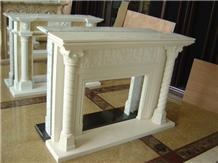 Hand Carved Stone Customized Moca Creme Fireplace
