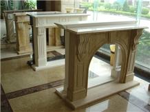 Indoor Used Decorative Beige Travertine Fireplace