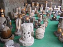 Natural Granite Lantern/Lamp with Electric Light