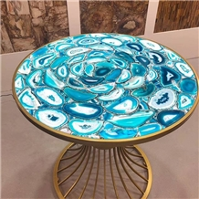 Blue Agate Gem Stone Table Coffee Table Home Use