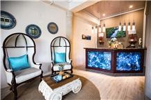 Blue Agate Translucent Backlit Reception Desk Top